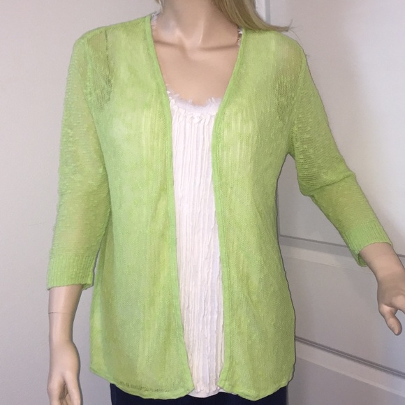 9d47f36e5cb1 Chico's Sweaters | Sale Chicos 2l Lime Linen Blend Cardigan | Poshmark